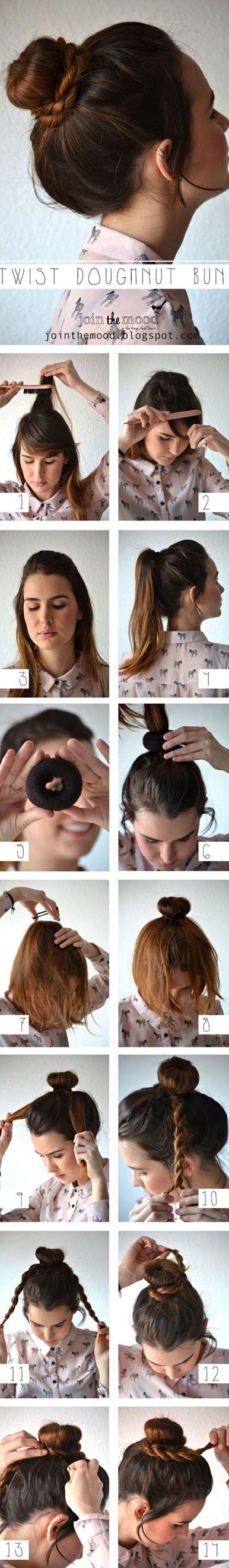 This one actually uses a donut shaped scrunchie for the volume of the bun! How cute! :> Your hair might be a little short for this, but couldn't resist.