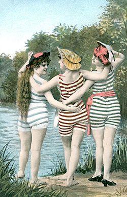 Bathing beauties vintage postcard