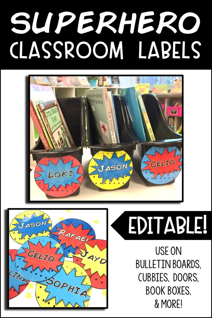 These circular labels are the perfect addition to any superhero theme classroom!  The labels are editable and can be used for door decorations, bulletin boards, cubby labels, etc. #superheroclassroom #superherotheme