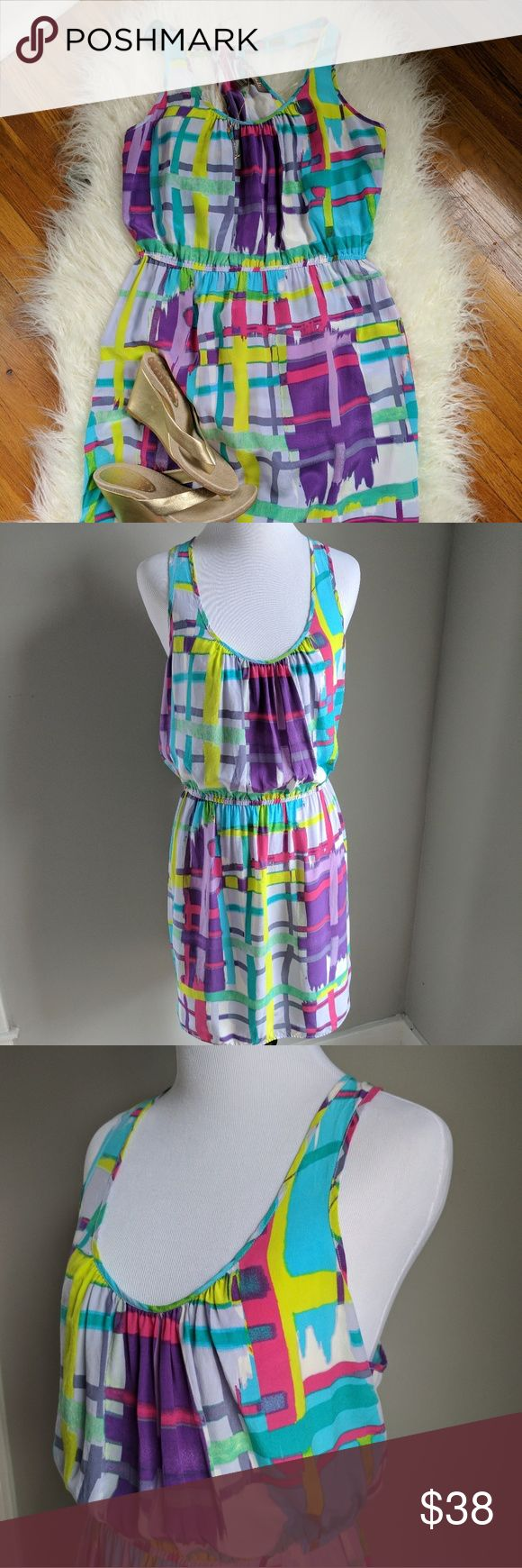 Charlie Jade silk dress, Nordstrom This gorgeous dress screams spring. It's racer back is sexy and sporty. 100% silk, never worn.  Perfect condition.   Measurements Flat across waist 13 and a half inches Waist to him 18 inches Bust 17 inches Shoulder to waist 17 inches Charlie Jade  Dresses