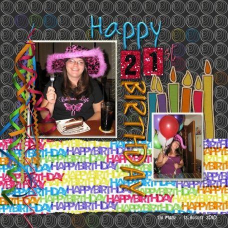 happy 21st birthday layout by Kaleena Farmer   Pixel Scrapper digital scrapbooking