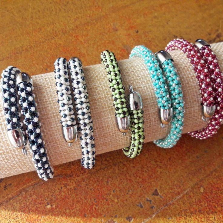 Bracciali Tubolare Chenille // Beaded Bracelets // Bracciali Bangle