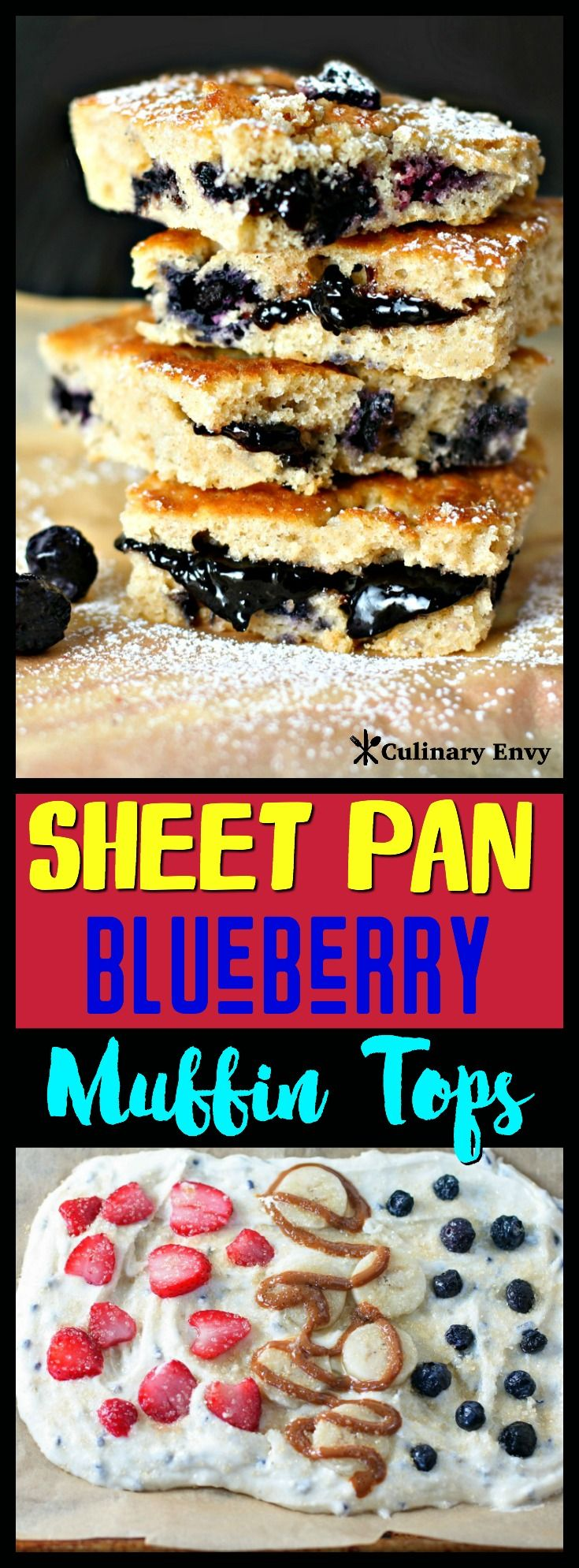 You won't need any muffin top pans for these quick and easy Sheet Pan Blueberry Muffin Tops. You use a baking sheet to get the best part of these scrumptiously moist breakfast muffins that are bursting with blueberries, have golden crispy edges and a sparkling sugar, buttery crust. Click to read more!
