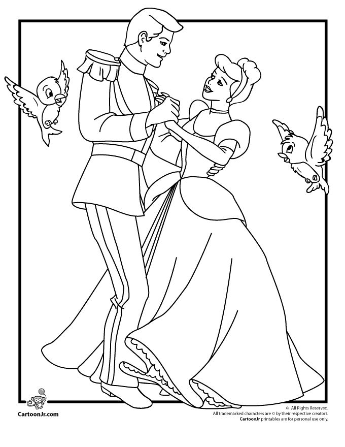disneys cinderella coloring pages cinderella and prince charming coloring page cartoon jr
