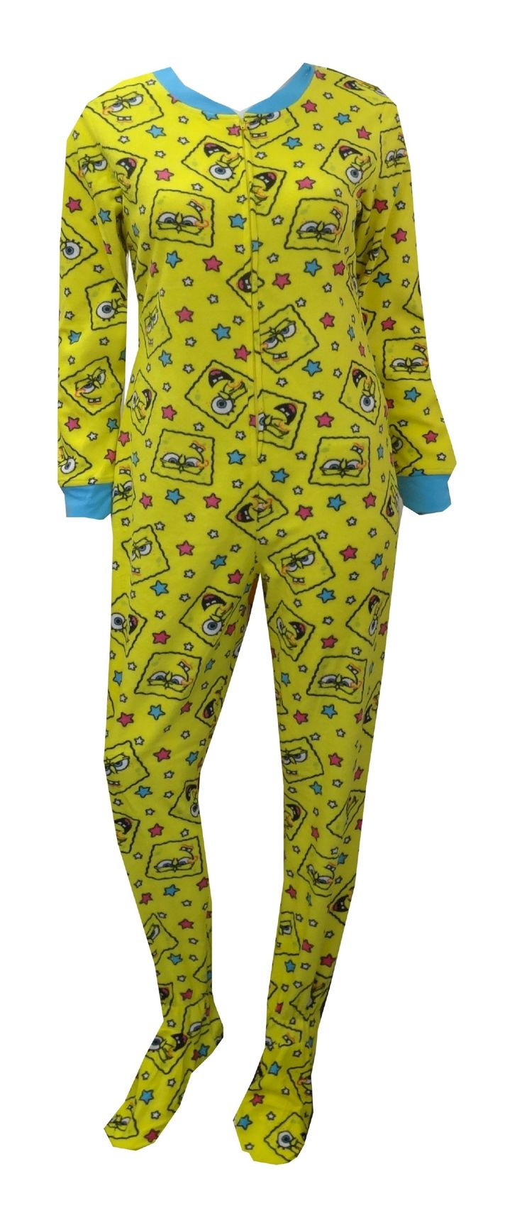 SpongeBob Faces Yellow Onesie Footie Pajama This popular favorite is back! These pajamas for women feature the many faces of Sp...