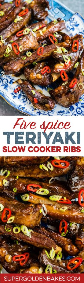 These five spice slow cooker teriyaki ribs are tender, sticky and irresistible! Cook in your crockpot and put under the grill for maximum deliciousness.