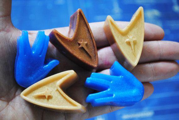 6 x Star Trek soap 3-Insignia and 3-Vulcan salute   by NerdySoap