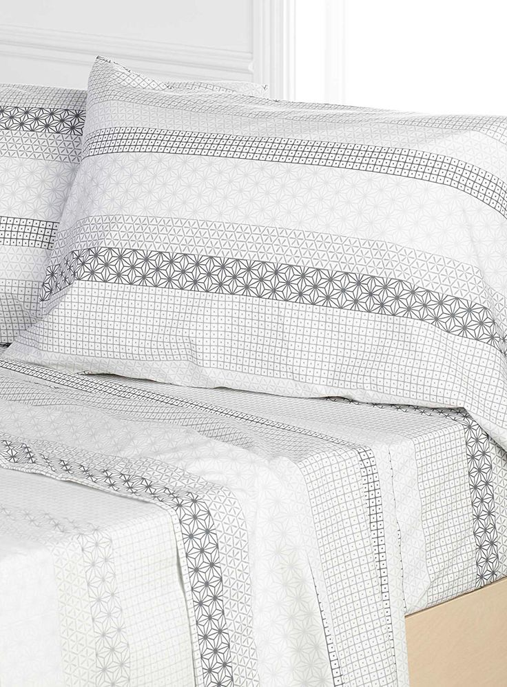 Mosaic stripe percale sheet, 230 thread count Fits mattresses up to 15 in. | Simons Maison | Bed Sheets & Pillowcases: Shop Sheet Sets Online in Canada | Simons