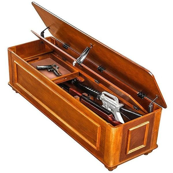 Wooden Gun Cabinet - Wooden Gun Safe - Keep your guns at the ready with the Gun Concealment Bench. The gun concealment bench provides a clever way to store your firearms with room for up to five long guns. This entryway Gun Concealment Bench is both attractive and multi functional. The interior of this storage bench keeps your guns safe, while the exterior is designed to keep them concealed behind what looks like a piece of furniture. Wood Gun Cabinets - Gun Safes, Solid wood gun Cabinets