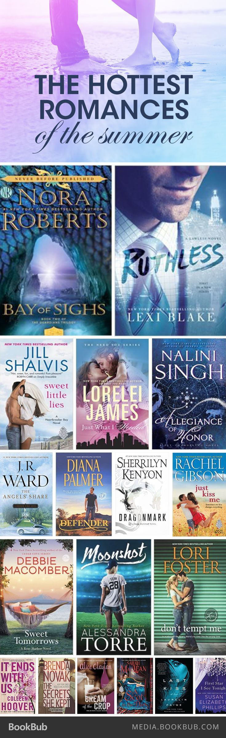 The hottest romance books of the summer, including books from Nora Roberts, Debbie Macomber, Colleen Hoover, and Sarah MacLean.