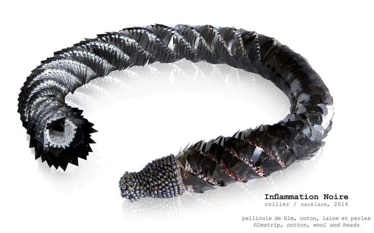 Sebastien Carré 'Inflammation noire', 2014 - pellicule de film, coton, laine & perles