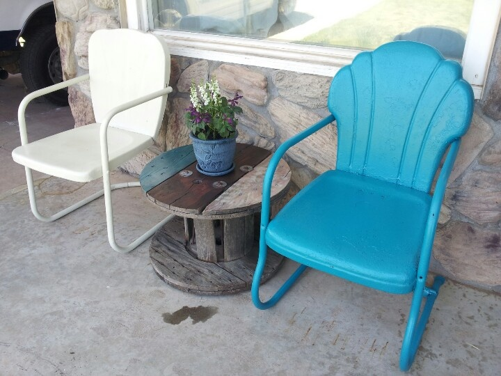 Spool and vintage metal chairs - we have both! Just need some paint :)