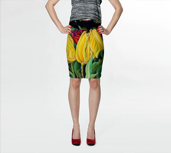 """Fitted+Skirt+""""Happy+Time+Yellow+Three+Lips""""+by+Amy+Ferrari"""