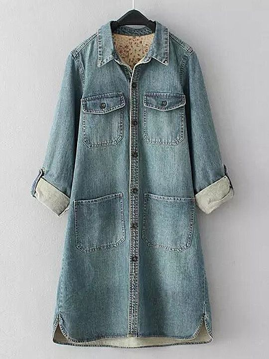 Light Blue Lapel Rolled-up Sleeve Long Denim Blouse with Floral Lining