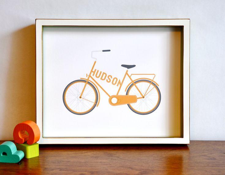 Type a Bike - Personalized Typographic Vintage Bicycle Name Print modern nursery wall art - 10x8 children decor. $18.00, via Etsy.