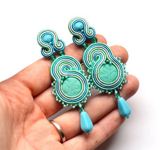 Beaded EARRINGS jewelry Delicate feminine elegant di SaboDesign