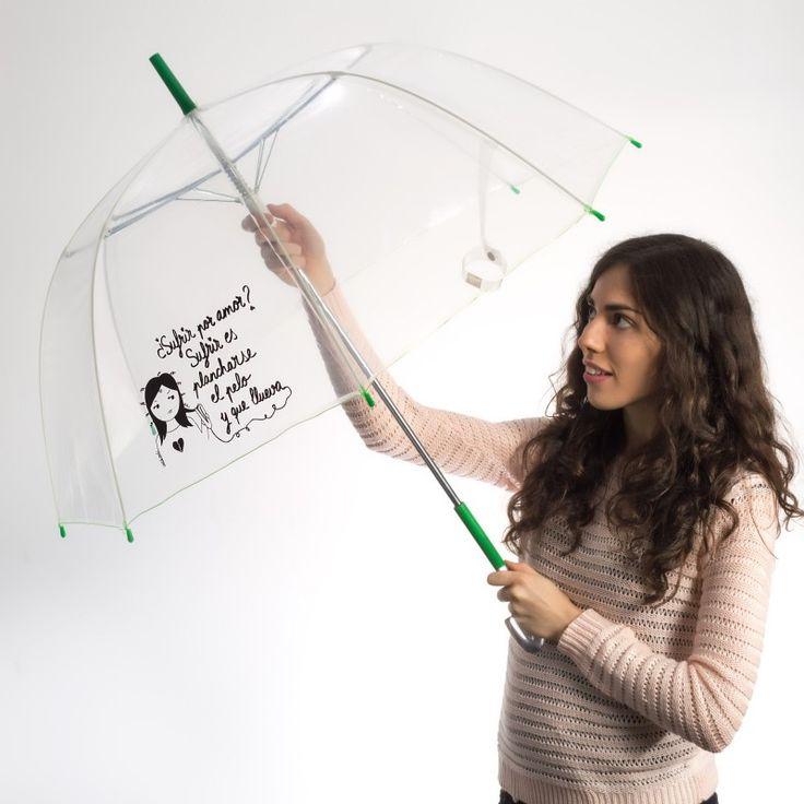 ¿Sufrir por amor? ¡Sufrir es plancharse el pelo y que llueva! - Paraguas transparente