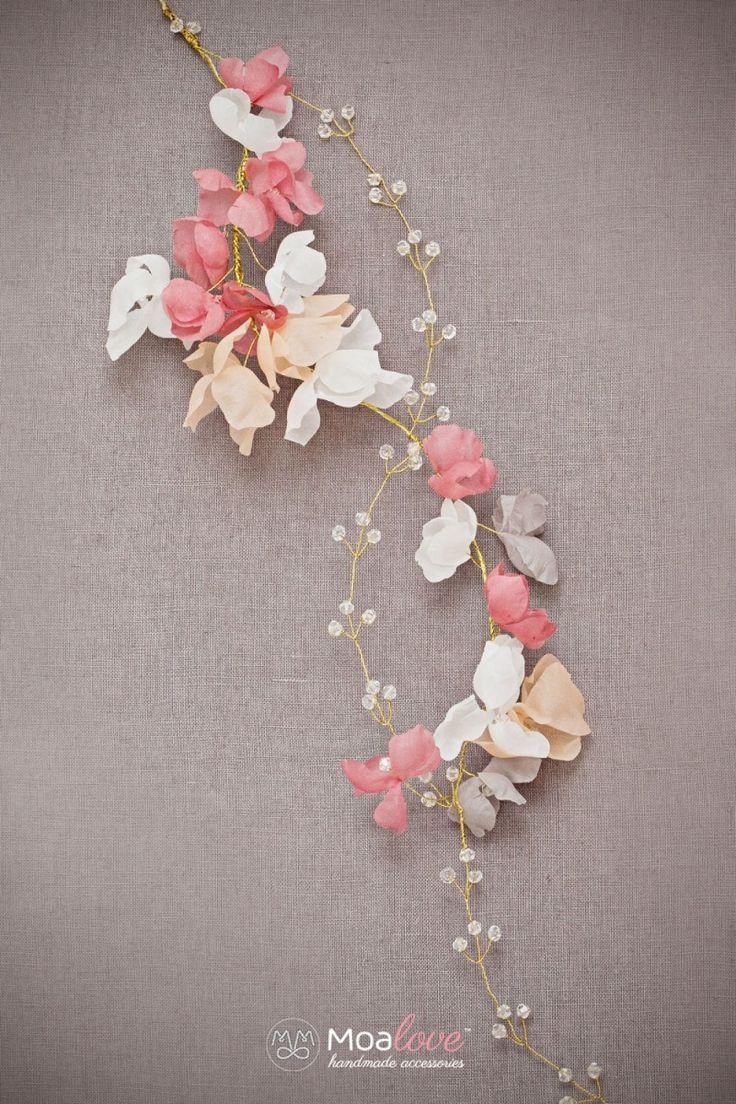 Cynthia | silk flower crystal bridal halo - MoaLove Accessories