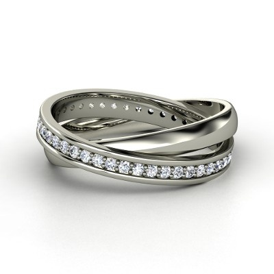 14K White Gold Ring with Diamond   Double Rolling Rings   Gemvara