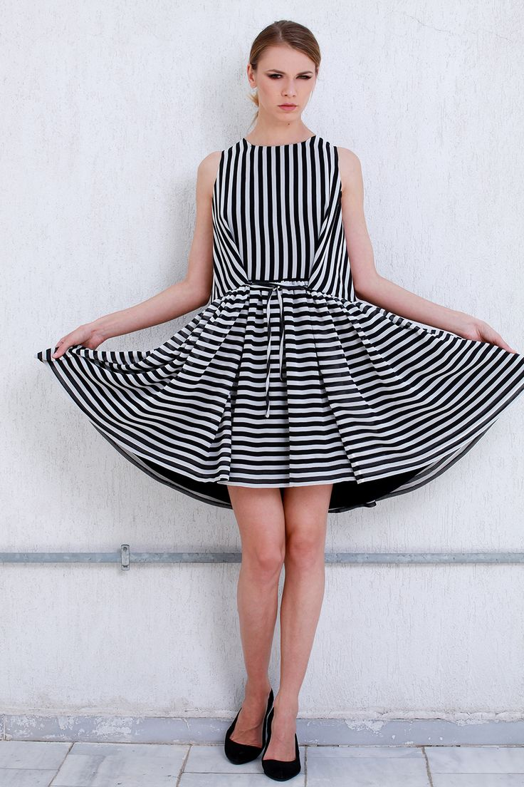 Oversized Black and White Dress