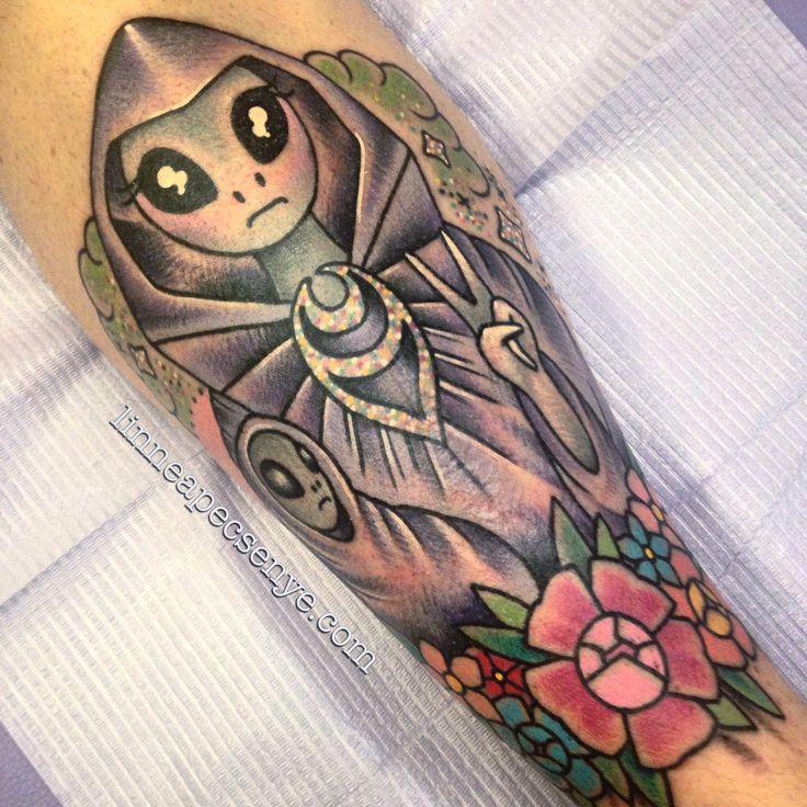 Grey Alien Virgin Mary and Jesus Tattoo by Linnea Pecsenye  @linneatattoos in Asheville, NC