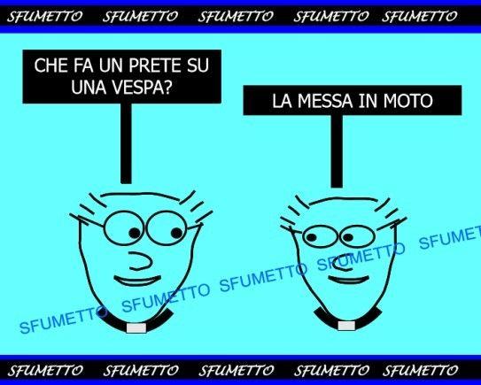 Gli indovinelli divertenti http://www.sfumetto.net/indovinelli-divertenti-22.html #barzellette #vignette #ridere #umorismo #battute #freddure #indovinelli #prete #vespa