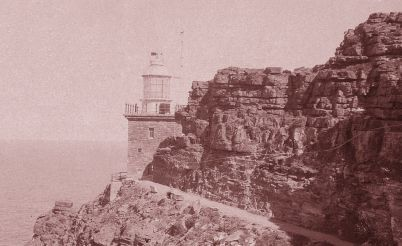 The new Cape Point Lighthouse built in 1914, soon after its construction. The light of the old Cape Point Lighthouse was invisible to ships at sea, at a certain angle.
