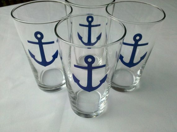 Boat anchor beer glasses set of nautical by WaterfallDesigns, $40.00