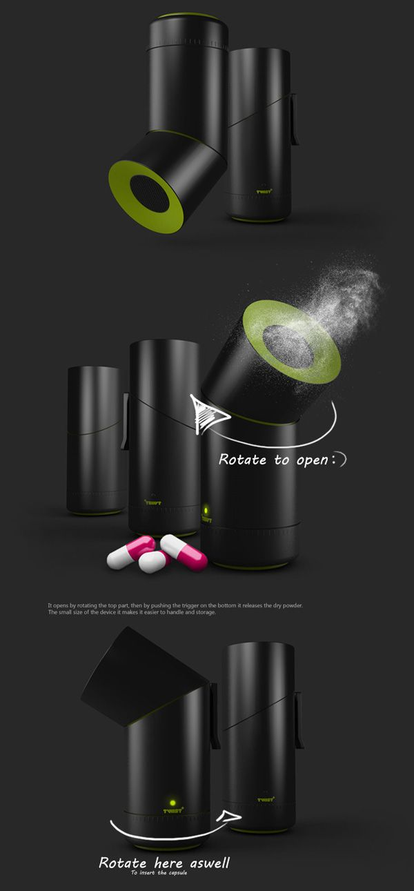 Twist+ - Dry asthma inhaler by Diana Dumitrescu for Colorbitor. Pretty awesome design