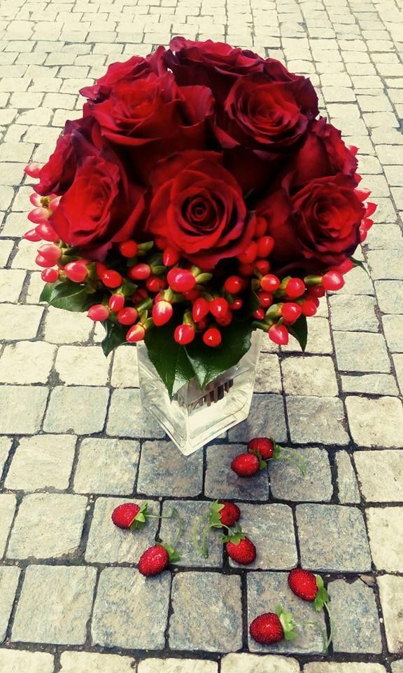 Wedding bouquet - red rose, hypericum