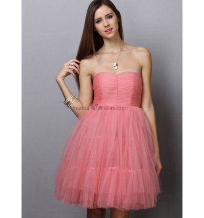 EMINA - Bridesmaid A-line Knee length Tulle Queen anne/Sweetheart Wedding party dress