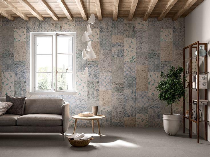 Collezione #Wonderwall decorazione #Patchwork.  Lastre in #kerlite 1x3 m, in gres con fibra di vetro, sottili e leggere come carta da parati. In 12 decorazioni artistiche