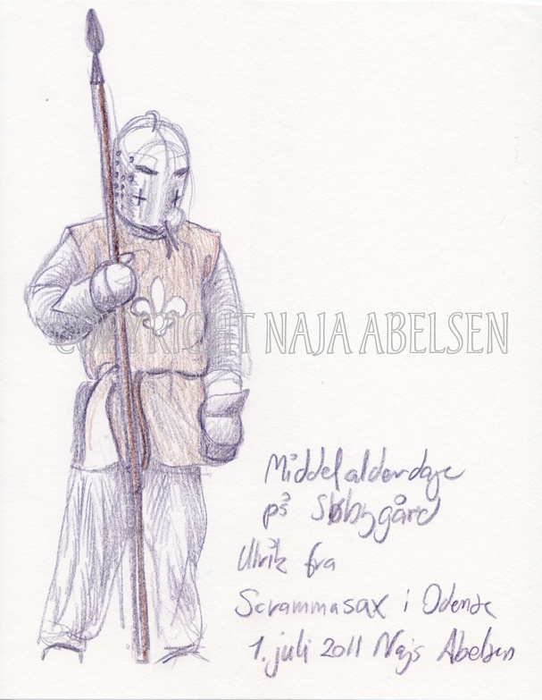 A 5-10 minutes sketch of a middleage-soldier (reenactment) who didn't stand still...but enough though to make this drawing. Colour pencil by Naja Abelsen. 2011.