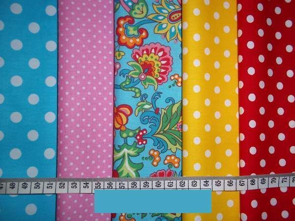 Fabric Remnants Craft Patchwork Bundle Modern Floral & Dots Spots Pink Turquoise
