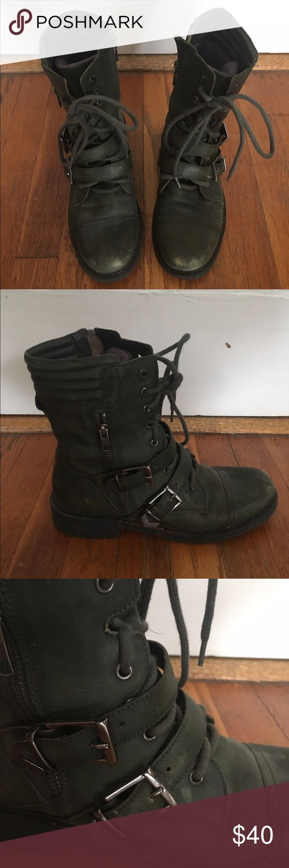 Olive Combat Boots Channel your inner steam-punk, boot-stompin warrior with these kicks. Olive green. Barely been worn. Ready for their rightful owner. ✌🏻 Bronx Shoes Combat & Moto Boots