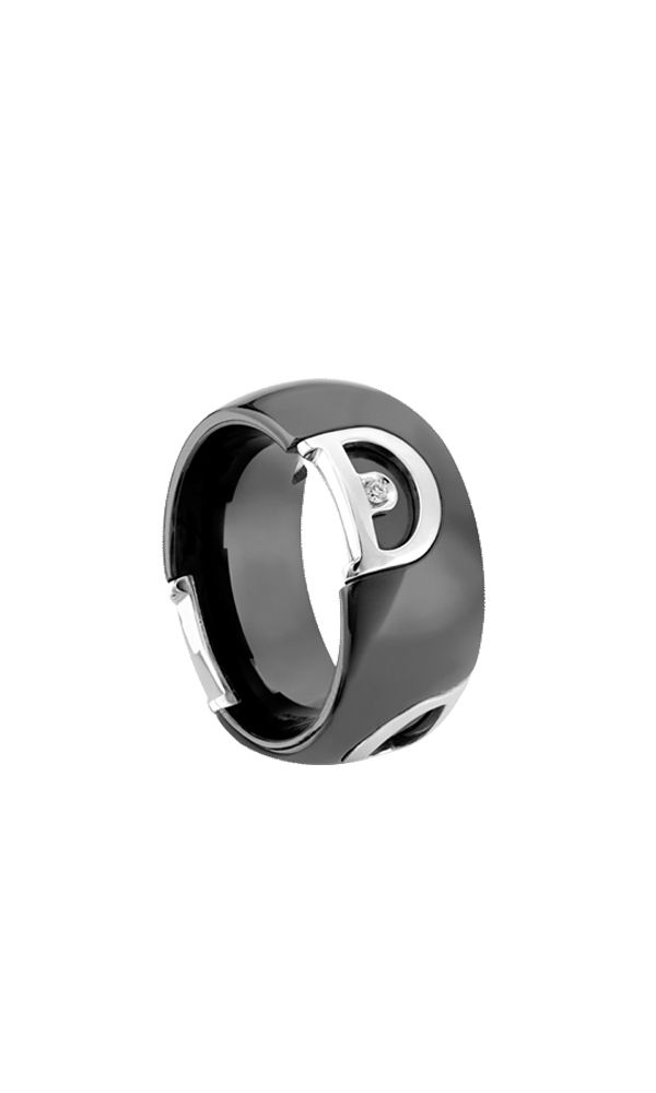 D.Icon black ceramic and white gold ring with diamond