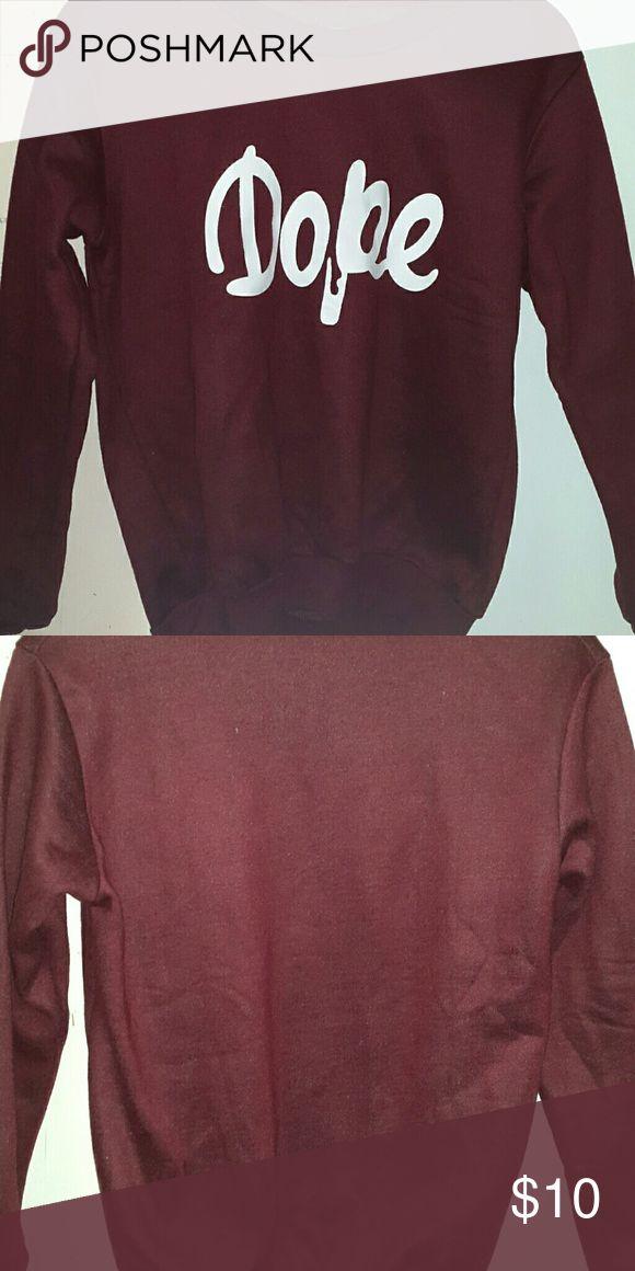 Dope Sweater Worn 1, in good condition, Burgundy Sweaters Crew & Scoop Necks
