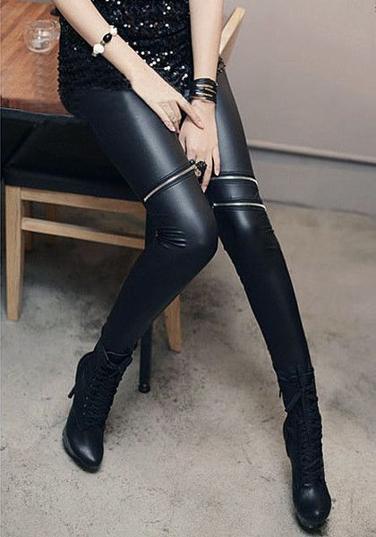 Rock that punk chic look with this pair of black zipper PU leather leggings. It's styled with an elastic waist and asymmetrical zipper embellishments above the knee. | Lookbook Store Pants and Leggings
