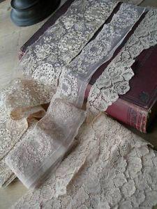 3 long lengths unused antique vintage French lingerie lace 1920s - 15 metres