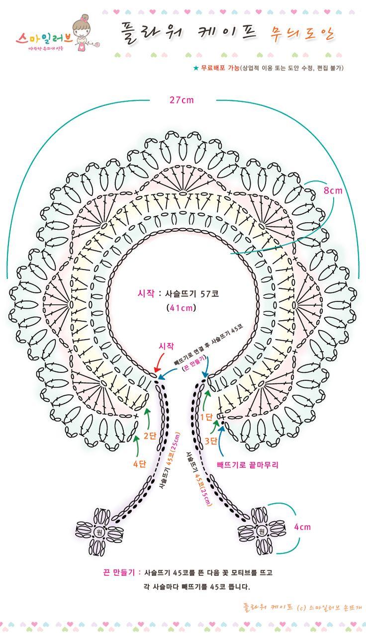 스마일러브 [플라워 케이프 (무료도안) 손뜨개 뜨개질 국민케이프 knit 패턴]