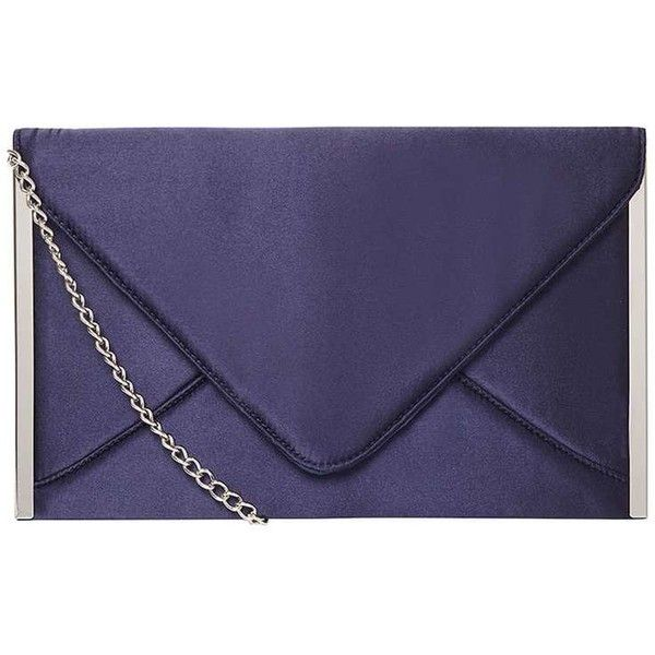 Dorothy Perkins **Showcase Navy Satin Clutch Bag ($35) ❤ liked on Polyvore featuring bags, handbags, clutches, blue, navy purse, navy blue clutches, navy clutches, satin purse and navy blue purses