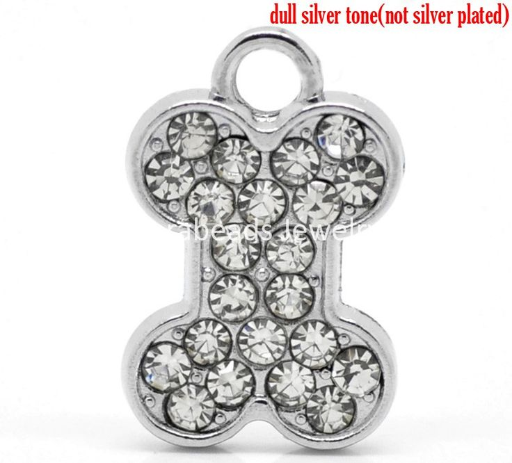 "Doreen Box Lovely 10PCs Silver Tone Rhinestone Dog Chew Bone Charm Pendants 22mmx20mm( 7/8""x 6/8"") (B19390)"