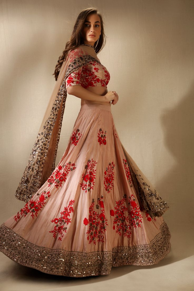 Engagement Lehengas - Soft Pink Lehenga with Red Embroidery | WedMeGood #wedmegod #indianbride #indianwedding #bridal #lehenga #engagementlehenga