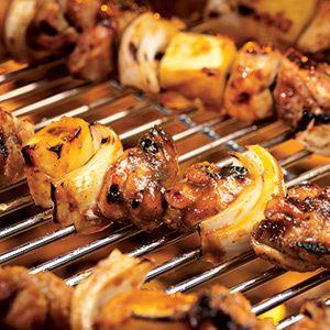 Caribbean Chicken amd Pineapple Kebabs with Banana Salad