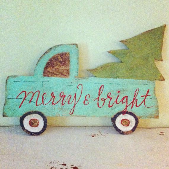 Vintage pickup truck with christmas tree RED by SweetLillyDoodles