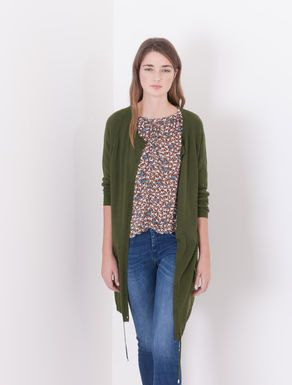 Relaxed fit cardigan with drawstring