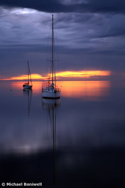 Boats at Dawn 	  Geelong, Victoria, Australia by Michael Boniwell