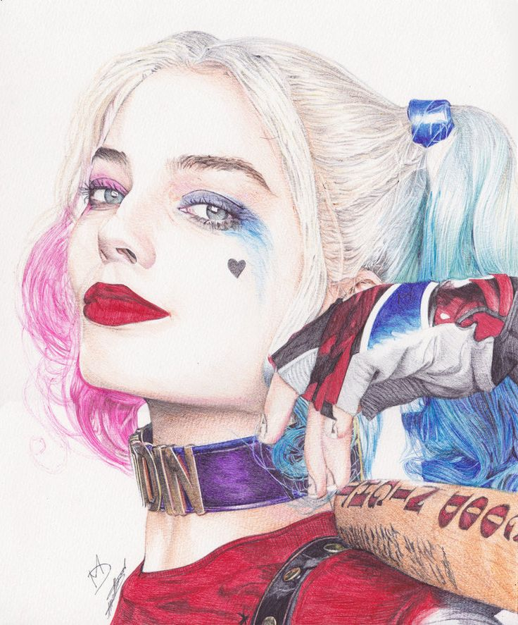 Harley Quinn Ballpoint Pen Drawing by demoose21
