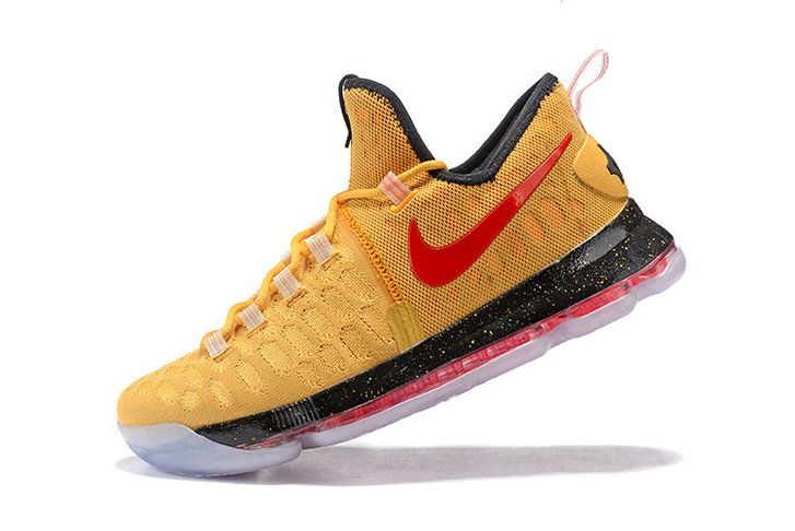 Sale New KD IX 9 Flyknit Liquid Gold Gym Red Tour Yellow Kevin Durant Shoes 2017