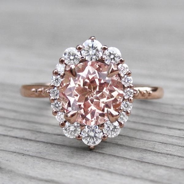 Peach Sapphire Engagement Ring with Diamond Halo (2.15ct) #DazzlingDiamondEngagementRings #diamondengagementrings